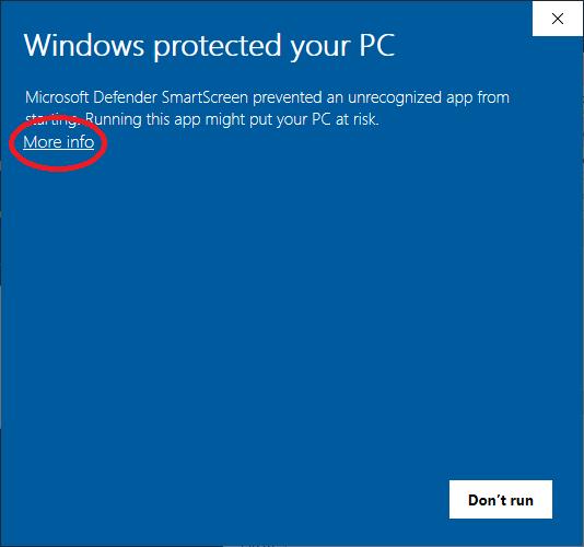 6. Windows Defender message